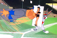 Gorilla player loses control upon Bugs Bunny presentation of comely pinup picture